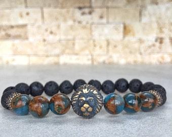 Copper Lion Bracelet, Agate Bracelet, Lion Bracelet, Leo Bracelet, Leon Bracelet, Lionhead Bracelet, Gemstone Bracelet, Bracelet For Men