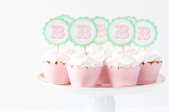 Girls First Birthday Cupcake Toppers Pastel Circus Party Supplies