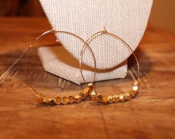 Beaded Gold Thin Hoop Earrings | Thin Gold Hoop Earrings, Gold Hoop Earrings, Thin Hoops, Hoop Earrings, Gold Hoops