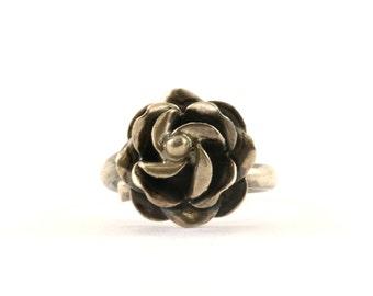 Vintage Rose Flower Design Ring 925 Sterling RG 3592