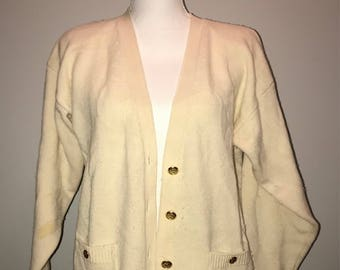 Vintage 80's Ivory Wool Cardigan / size small / by Talbots
