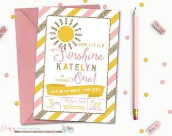 Sunshine Birthday Invitation, Sunshine Invitation, Birthday Invitation, Sun Birthday Invitation, Pink and Gold Invitation, Gold Glitter