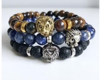 Men's Gemstone Lion Head Bracelet/ Men's Beaded Bracelet