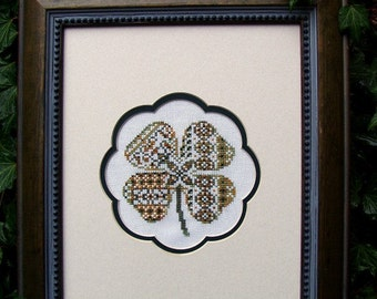 """Cross Stitch Instant Download Pattern """"Rare Clover"""" Counted Embroidery Chart. Clover Design. St Patrick's. Ornamental. Beginner X Stitch."""