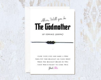 Silv GODMOTHER card Fairy Godmother Friendship bracelet card Will you be my Godmother card godmother bracelet godmother gift fairy bracelet