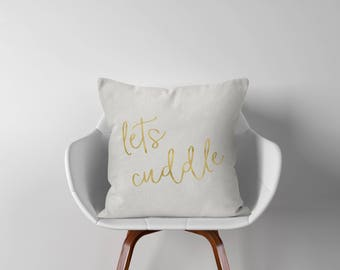 """Lets Cuddle Throw Pillow - Throw Pillow Cover - Throw Pillows - Pillow Cover - 18"""" - 18x18 - Pillow Cover - Decorative Pillow Cover - P004"""