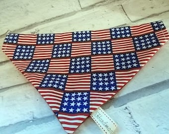 Stars and Stripes Flag Dog Bandana, Dog neckerchief, Dog bandana collar, Bandanas for dogs, Dog clothing, Thanksgiving,