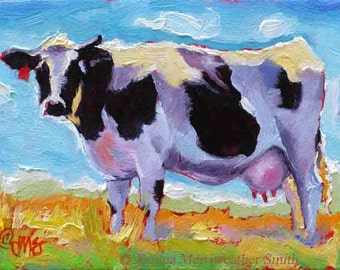 Cow Painting ,Western Cow & Blue Sky Art Print, Cow Print, Cow Art, 5 x 7 by Jemma's-Gems