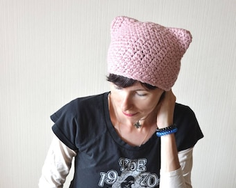 cat hat pussy hat outdoors gifts for girlfriend gift cat lover gift cat ear hat pussycat hat pink hat winter hat knit hat sister gift