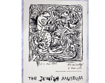 Mid Century Modern Unframed Jewish Museum Poster 1965