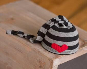 Newborn Boy Hat, Upcycled Newborn Hat, Newborn Knot Hat, Black and Gray Striped Hat Red Heart, Newborn Photo Props Newborn Boy Props Hats