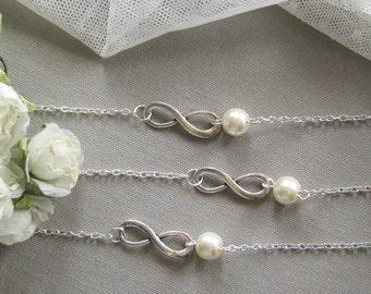 SET of 12  Infinity pearl bracelet, bridesmaid bracelet, bridesmaid gift wedding pearl jewelry white ivory pearl - BR008