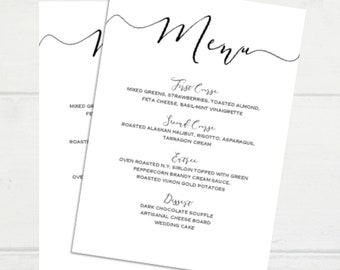 Editable Modern Black and White Wedding Menu Template 5x7, PDF Instant Download