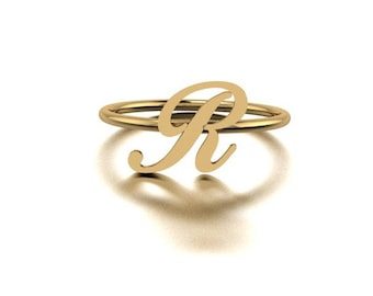Personalized ring, Script initial, Gold initial ring, Letter ring, Large initial ring, Monogram ring, Bridesmaid gift, Mothers rings, Letter