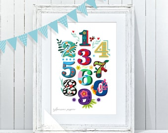 Printable abc numbers Poster | Alphabet Kids Wall Decor | Playroom Art | ABC 123456789 Wall Art | Baby Room ABC | Instant Download ABC