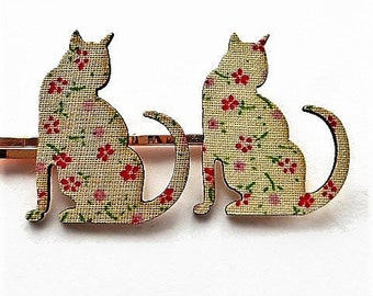 Cat hair accessories, hair items, cat decorative bobby pins, hair jewellery, childrens hair clips, hair decorations, cute hair clips,