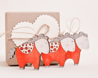 Red Xmas Ornaments Holiday Ornaments Christmas Decoration Wooden Glitter Horses Cute New Year Gift, Grandma Gift, Christmas Gifts
