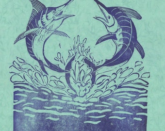 X is for Xiphias Linocut - Swordfish Lino Block Print, Fighting Swordfish, X is for Xiphias