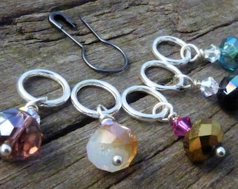 Swarovski Crystal Knitting Stitch Markers Set with Stitch Holder Pin 6pcs