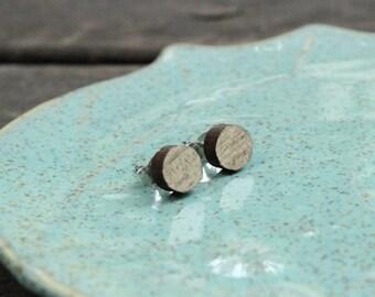 Round Wood Stud Earrings in Beetle Kill PIne
