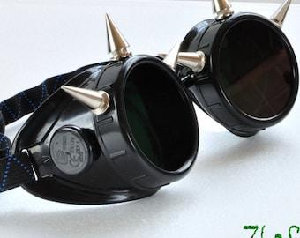 Black Cyber Goth Goggles Glasses 6 Nickel Spikes CyberPunk Industrial Noise Dark Wave Dark