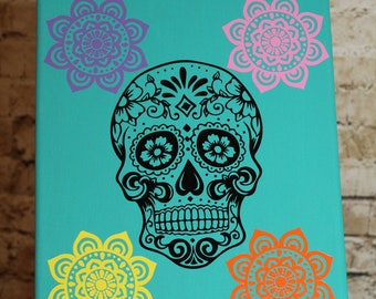Day of the dead skull in vinyl on canvas