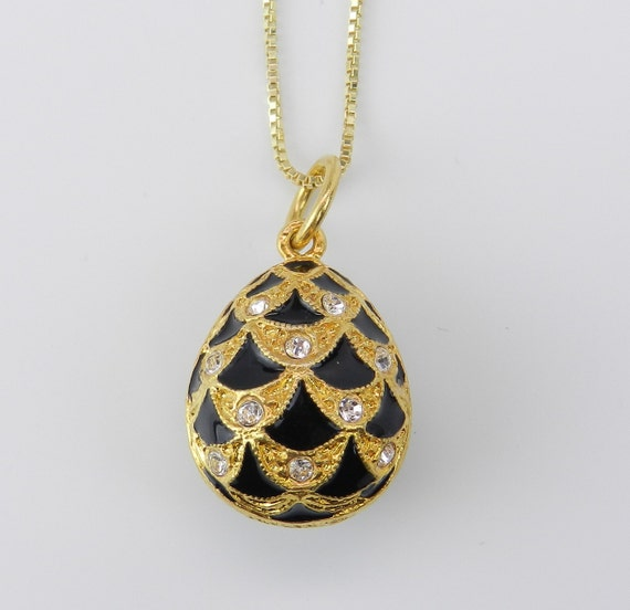 """18K Yellow Gold over Sterling Silver Black Enamel Swarovski Crystal Pendant with Chain 18"""" Faberge Style Egg"""