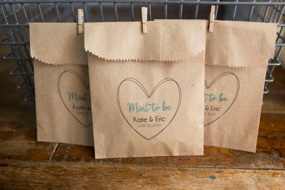 Mint To Be - Wedding Favor Bags for mints -  4x6 inch Kraft Paper Rustic Bags
