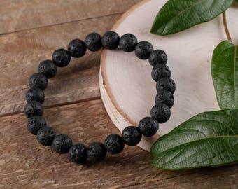 Black LAVA STONE Power Bracelet - Lava Stone Bracelet, Lava Stone Jewelry, Lava Stone Beads, Bead Bracelet, Diffuser Bracelet E0590