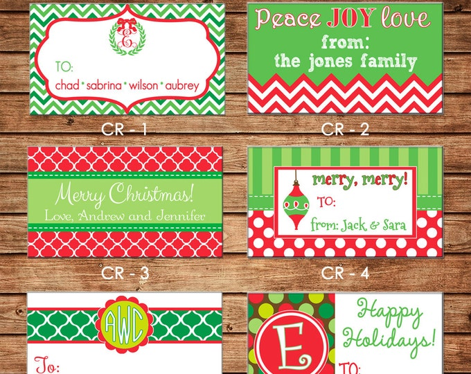 20 Printed Christmas Holiday Rectangle Gift Tags Enclosure Cards Stickers - Can personalize - Choose ONE design