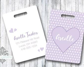 Luggage Tag | Personalized Bag/Luggage Tag | Kids Backpack Tag | Diaper Bag Tag | Custom Bag Tag | Travel Accessory | Lavender Heart