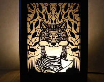 Handmade Papercut Baby Fox Woodland Forest Nursery Playroom Silhouette Lightbox  Nightlight Accent Lamp