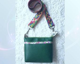 Green messenger bag, eco leather handbag, shoulder bag, green bag Martine