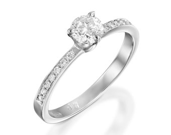 Engagement Ring 1/2 carat-Gold Diamond Ring-Bridal ring-Solitaire diamond engagement ring-Promise ring-anniversary ring-Art deco ring