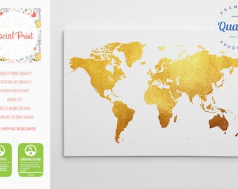 Animal world map canvas print free shipping for kids and gold world map canvas print free shipping home decor world map custom gumiabroncs Image collections