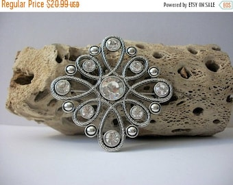 ON SALE Vintage Silver Tone Textured Metal Clear Sparkling Rhinestone Inlays Larger Pin 51017