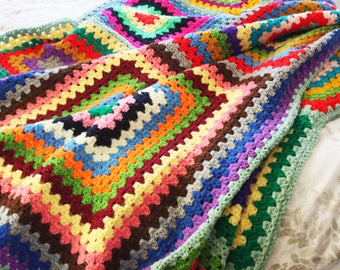 Large Granny Square Crochet Blanket