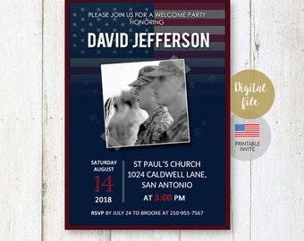 US Air Force Welcome Home Hero Party Invitation for son husband dad daddy best brother friend | or Military Retirement invite DIGITAL file!