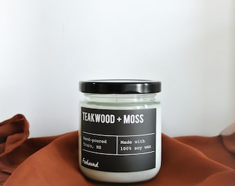 Teakwood + Moss soy candle |  natural soy wax | Foxhound  | Candles, Soy Candle Gift Idea Home Decor
