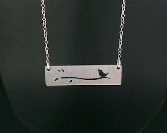 Petite Bird Necklace-Layering Necklace-Bird Lover's Necklace-Bird on a Branch Silhouette Necklace