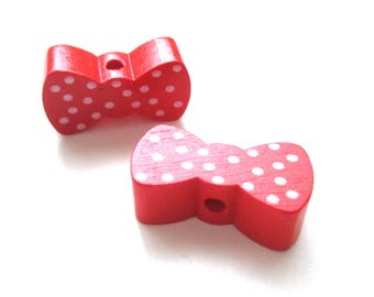 Wooden bow - red with white dots bead