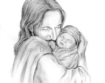 8X10 Glimpse of Heaven- Jesus Christ Holding a Newborn Baby