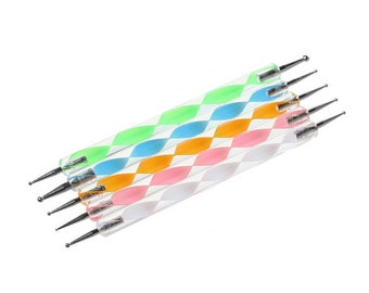 Pack of 5 Acrylic Marbling, Dotting and Decorating Tool. 13cm Long. Perfect for Nail Art. Different Sizes Double End. Random Colours Sent.