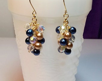 Navy Blue Gold Pearl and Crystal Cluster Earrings, Wedding Bridesmaid Jewelry, Valentines Mothers Day Gift, Mom Sister Grandmother Jewelry