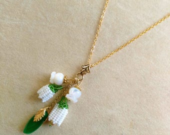Beadwoven/ Beaded White Lily of the Valley Pendant, Emerald Green Leaf, Bridal Wedding, Mother of Pearl Lily of the Valley by enchantedbeads