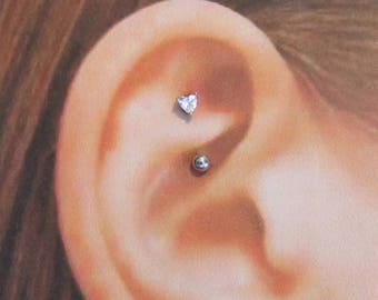 Surgical Rook 3mm Heart,16g Curved Barbell..8mm