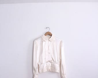 Satin Lady Pleated 80s Blouse