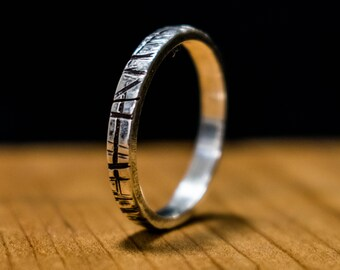 Simple Stackable Organic Rough Sterling Silver Ring Size 7.75, Stacker Ring