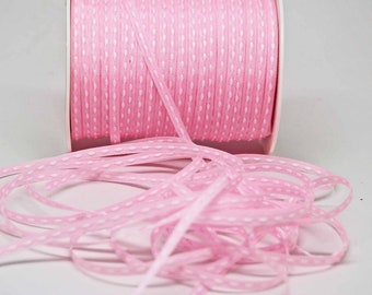 Solid Stitched Center Ribbon -- 1/8 inch -- Ballet Pink Baby Pink Light Pink