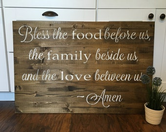 Bless the Food Before Us Sign, rustic wall decorBless The Food Sign, rustic Dining Room Sign